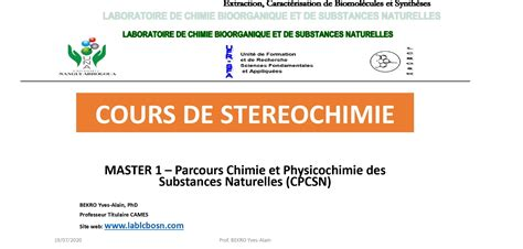 *Cours de STEREOCHIMIE MASTER 1_ 21/07/2020_Prof