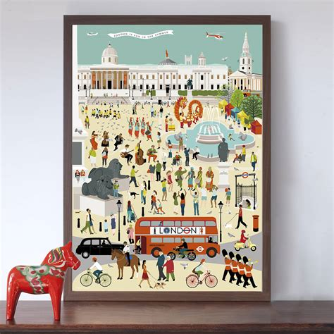 out and about in london trafalgar square art print by