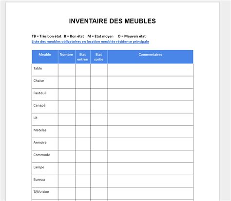 Feuille Inventaire Vierge