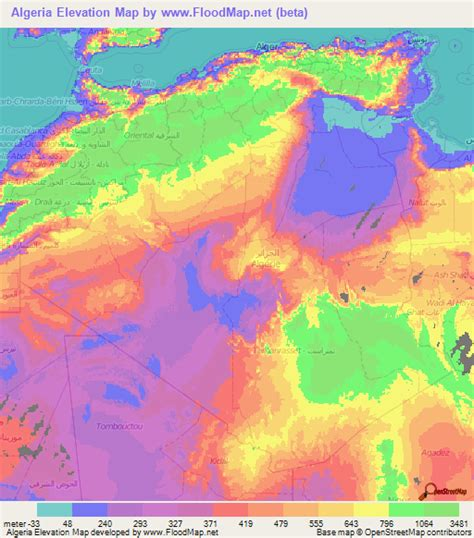 Algeria Elevation and Elevation Maps of Cities