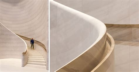 A Hand-Carved Stone Staircase Adds A Sculptural Touch To