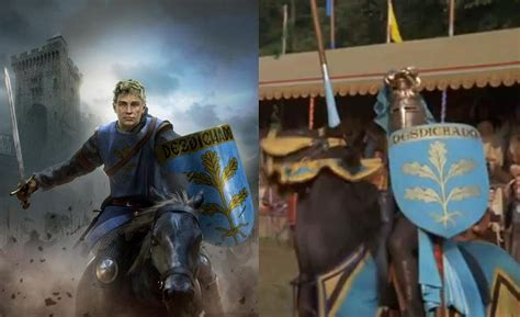 The blond knight with the blue-and-gold shield depicted